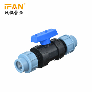 PE Equal Ball Valve PE Compression Fitting 20mm-110mm Plastic Valve