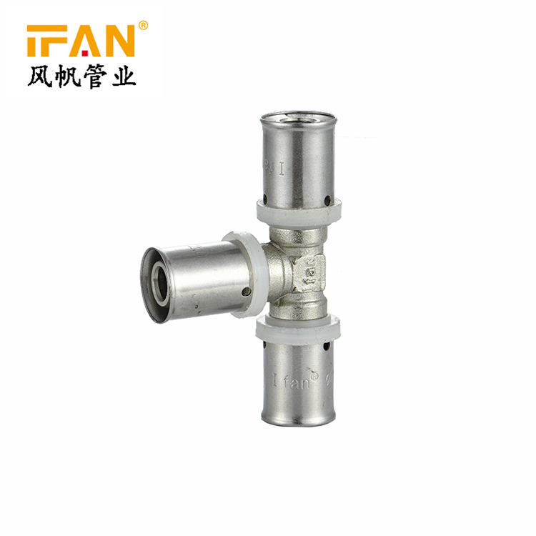 Germany Standard Chrome Color Plastic Pipe PN25 Press Pex Pipe Fitting Equal And Reduce Tee