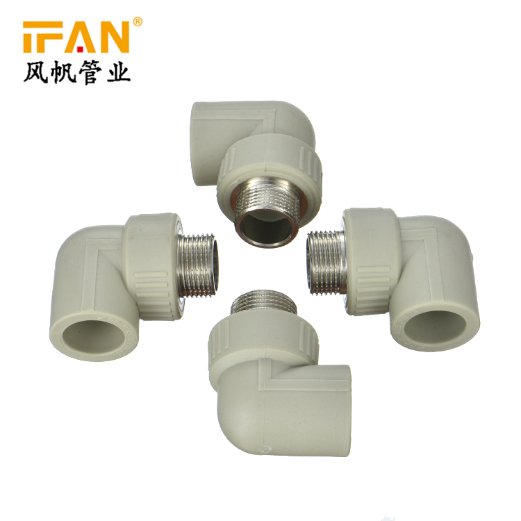 PPR 90 Degree Male Elbow Chinese brass insert ppr fitting elbow white green color PN25